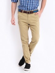 Roadster Men Light Khaki Barnard Slim Fit Trousers