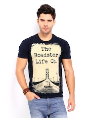 Roadster Men Navy & Beige Printed T-shirt