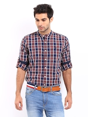 Roadster Men Navy & Brown Checked Romain Shelby Slim Fit Casual Shirt