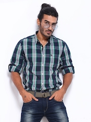 Roadster Men Navy & Green Checked Vettel Shelby Slim Fit Casual Shirt