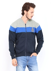 Roadster Men Navy & Grey Melange Sweatshirt