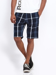 Roadster Men Navy Blue Checked Shorts