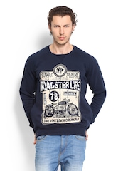 Roadster Men Navy Printed Sweatshirt