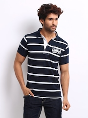 Roadster Men Navy Striped Campus Polo T-shirt