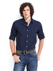 Roadster Men Navy Vettel Shelby Slim Fit Casual Shirt
