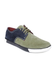 Roadster Men Olive Green & Navy Casual Shoes