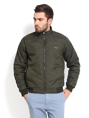 Roadster Men Olive Green Padded Jacket
