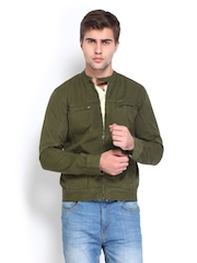Roadster Men Olive Green Shelby Slim Fit Jacket