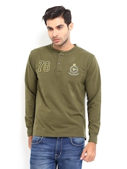 Roadster Men Olive Green Henley T-shirt
