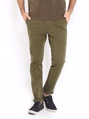 Roadster Men Olive Green Torino Slim Fit Chino Trousers