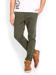 Roadster Men Olive Green Torino Slim Fit Trousers