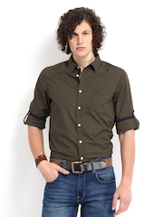 Roadster Men Olive Green Vettel Shelby Slim Fit Casual Shirt