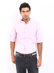Roadster Men Pink Romain Shelby Slim Fit Casual Shirt