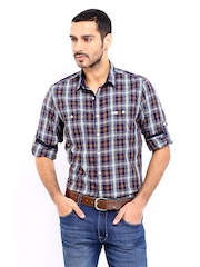 Roadster Men Purple & Brown Checked Jules Shelby Slim Fit Casual Shirt