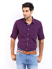 Roadster Men Purple Vettel Shelby Slim Fit Casual Shirt