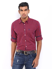 Roadster Men Red & Blue Checked Vettel Shelby Slim Fit Casual Shirt