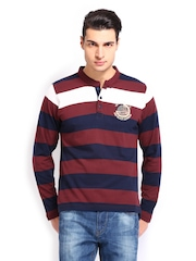Roadster Men Red & Navy Striped T-shirt
