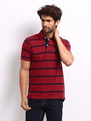 Roadster Men Red Striped Campus Polo T-shirt