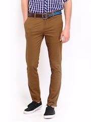 Roadster Men Rust Brown Torino Slim Fit Chino Trousers
