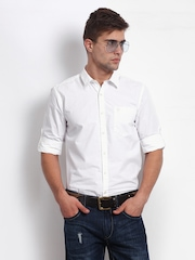 Roadster Men White Vettel Shelby Slim Fit Casual Shirt