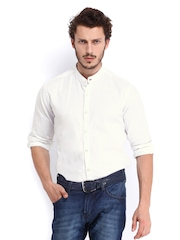 Roadster Men White Romain Shelby Slim Fit Casual Shirt