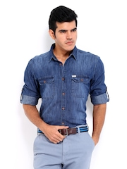 Roadster Men Dark Blue Sutil Slim fit Denim Casual Shirt
