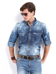 Roadster Men Blue Jules Shelby Slim Fit Denim Casual Shirt