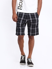 Roadster Men Black Checked Shorts