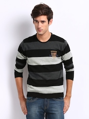 Roadster Men Grey & Black Striped Penguin Sweater