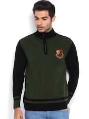 Roadster Men Olive Green & Black Sweater
