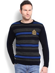 Roadster Men Navy & Grey Striped Sweater