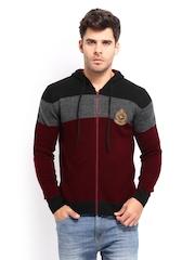 Roadster Men Maroon & Black Hooded Striped Sweater