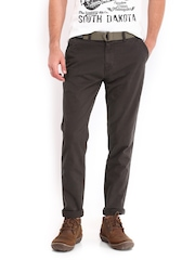 Roadster Men Charcoal Grey Baley Colored Torino Slim Fit Chino Trousers