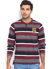 Men Maroon & Navy Striped Henley T-shirt Roadster