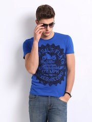 Roadster Men Blue Utah Salt Printed T-Shirt