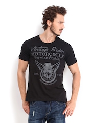 Roadster Men Black Vintage Rider Printed T-shirt