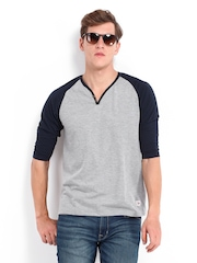 Roadster Men Grey Melange & Navy Henley T-shirt