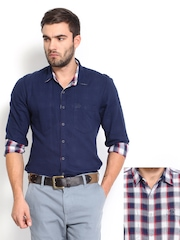 Roadster Men White & Navy Checked Reversible Slim Fit Casual Shirt