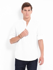 Roadster Men White Adam Slim Fit Casual Shirt