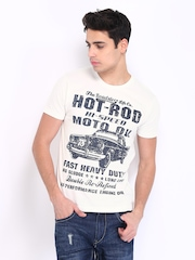 Roadster Men White Hot Rod Printed T-shirt