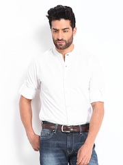 Roadster Men White Romain Slim Fit Casual Shirt