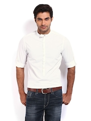 Roadster Men White Shelby Slim Fit Casual Shirt