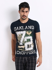 Roadster Men Navy Oakland Printed T-Shirt