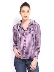 Roadster Woman Pink & Navy Checked Hooded Casual Shirt