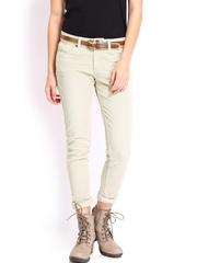 Roadster Women Beige Skinny Fit Corduroy Trousers