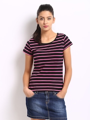 Roadster Women Black & Pink Striped Top