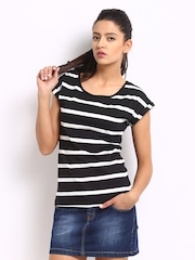 Roadster Women Black & White Striped Top