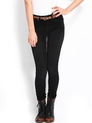 Roadster Women Black Skinny Fit Corduroy Trousers