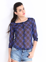 Roadster Women Blue & Black Checked Slim Fit Casual Shirt