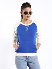 Roadster Women Blue & Cream Coloured Sweatshirt